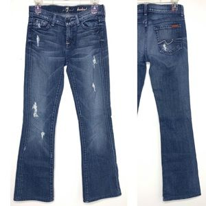 7FAM | Dark Wash Distressed Ripped Bootcut Jeans